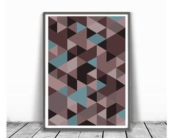 Printable Geometric Poster, Scandinavian Print, Nordic Poster, Modern Geometric Poster, Triangle Print, brown Print, Modern Wall Art, pink