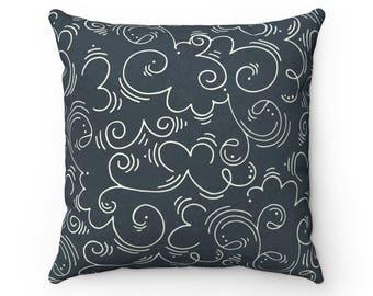 Hand Drawn Swirl Pillow
