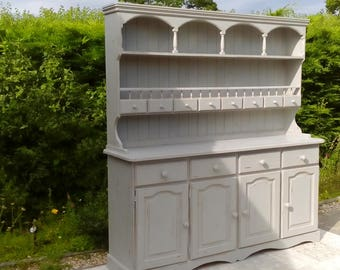 NOW SOLD****Beautiful, Large Vintage Welsh Dresser. Shabby Chic, Paris Grey.