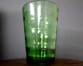 Striking Mid Century Ribbed Green Glass Vase Retro Vintage Whitefriars? 50s 60s 70s