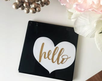 Hello Coaster ,Drink Coaster ,Ceramic Coaster ,Home Office