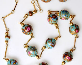 Matching Necklace & Earring Set made with Antique Venetian Fancy Beads Excellent Condition