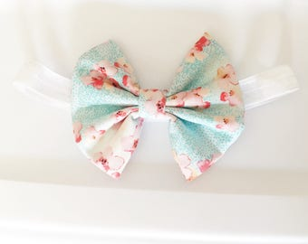 Cherry blossom ,blossom print ,baby bows .bows