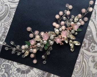 Pink hair comb wedding accessories birdal hair comb leaves hair comb