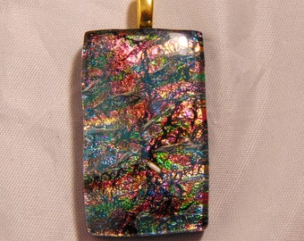 Dichroic Fused Glass Pendant Necklace  Misty Brown Orange Burnt Red Green
