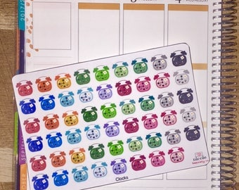 Rainbow Alarm Clock Planner Stickers for use with Erin Condren Life Planner and other planners