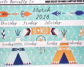 March 2018 Monthly Overview Kit for use with Erin Condren Life Planner