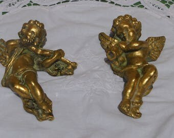 Pair of cherubs musicians in colored plaster, hanging deco charm, shabby chic, romantic, wall art, 50's, France