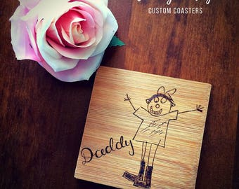 Childs drawing burned onto wooden coasters, set of drinks coasters with childrens drawing, grandparent gift, parent gift, coaster set, kids