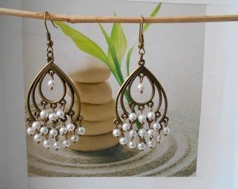 dangle drop earrings White Pearl bronze