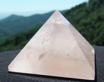 Golden Ratio Rose Quartz Pyramid (1.77x1.77x1.14 inch)