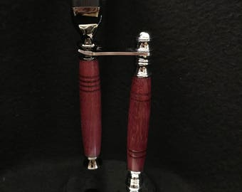 Mach3 razor and stand with Purple Heart wood and Gun Metal