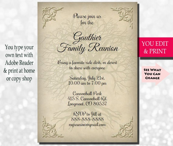 Attractive Family Reunion Invitation, Family Party Invitation, Family Get Together  Invitation, Family Tree Invitation, You Edit PDF Instant Download Intended Invitation For A Get Together