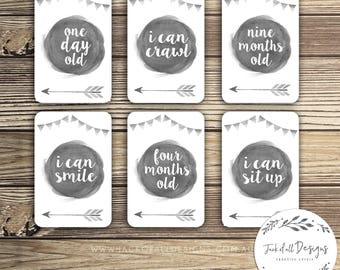 Baby Milestone Cards - Watercolour - Grey