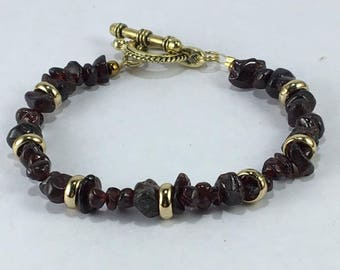 Handmade Men's Genuine Garnet Gemstone Boho beaded Bracelet jewelry men's garnet bracelet Aquarius jewelry January birthstone bracelet