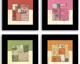 FLYING COLOR Series, mixed-media collages, original art, paper art
