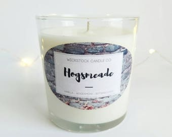 Hogsmeade Harry Potter Inspired 9oz Soy Wax Bookish Candle   Vanilla Woodsmoke & Butterscotch   Butterbeer