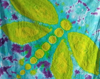 Tie dye, Green, blue, purple, Tie dyed Dragonfly Tapestry