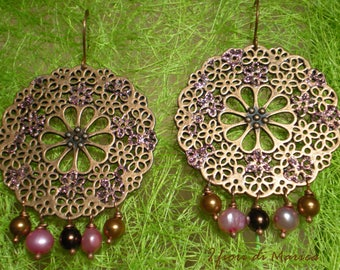 Floral Rose & filigree earrings Brown