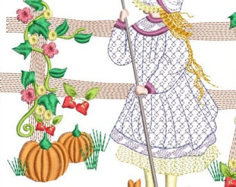 HOLLY HOBBY in Autumn machine embroidery download 3 diff sizes ( 4X4 5X5 6X6)