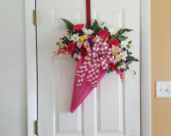 Pink umbrella door hanger with flowers/ wall decor/ summer
