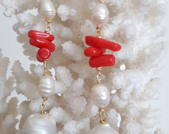 Silver earrings with coral and white Baroque pearls