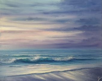 Original Ocean Painting, Seascape, Sunrise Art, Nautical Oil Painting on Canvas, Purple Ocean Waves Painting, Break of Dawn