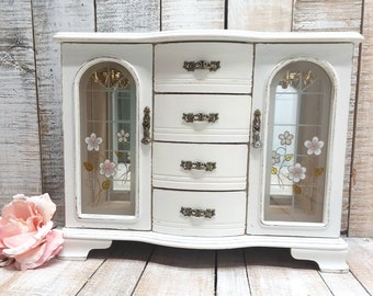 Large Shabby Chic Jewelry Armoire Painted Antique White Distressed Refurbished Upcycled Rustic Jewelry Box