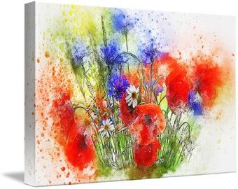 Watercolour Floral Bouquet Canvas Print