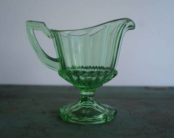 Green Indiana Glass Creamer