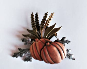 Harvest Brooch Pin Pumpkins Wheat Oak Leaves Mixed Metals Gold Copper Silver Tone Metal Autumn Fall Harvest Thanksgiving Bounty Vintage