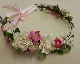 ADULT, CHILD, BABY - Pink / White Flower Crown. Christmas headband. headpiece. Wedding accessuary