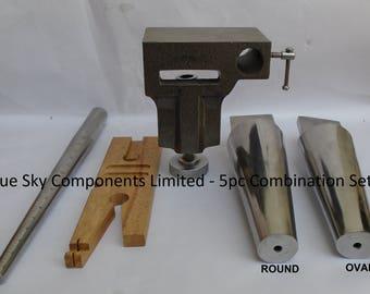 Combination Anvil Bench Pin Ring Mandrel Round & Oval Bracelet Mandrel 5PC Set