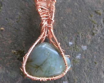 Labradorite Crystal Pendant wire wrapped in Copper