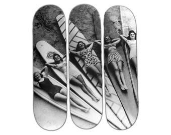 Skateboard - Skateart - décoration murale - Les Surfeuses Noir & Blanc