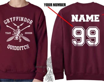 SEEKER - Custom back Gryffin Quidditch team Seeker White print on Maroon Crew neck Sweatshirt