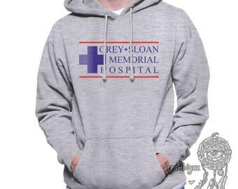 JUST LOGO Grey Sloan Mermorial Hospital printed on Navy, White, Maroon or Light steel Hoodie
