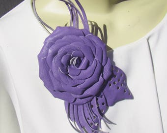 Purple Rose Brooch leather, Purple Rose Brooch flower, leather Purple Rose Wedding Brooch, Purple rose brooch leather, Purple Wedding brooch