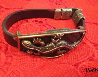 Animal Lizard Leather Charm Bracelet, Hook Men Bracelets Fashion Jewelry Brown leather, Hook woman Bracelets Fashion Jewelry Brown leather