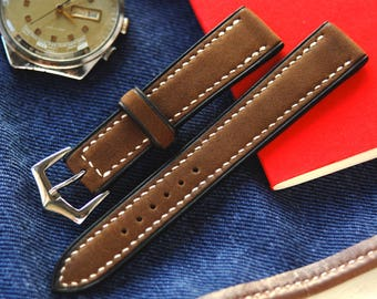Brown Crazy Horse Leather Watch Strap 18mm, 20mm, 22mm, 24mm Free Shipping