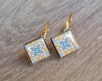 20% OFF SUMMER SALE Small azulejo replica earrings, Portugal tiles, azulejo earrings, azulejo jewelry, small diamond shape tile earrings, Po