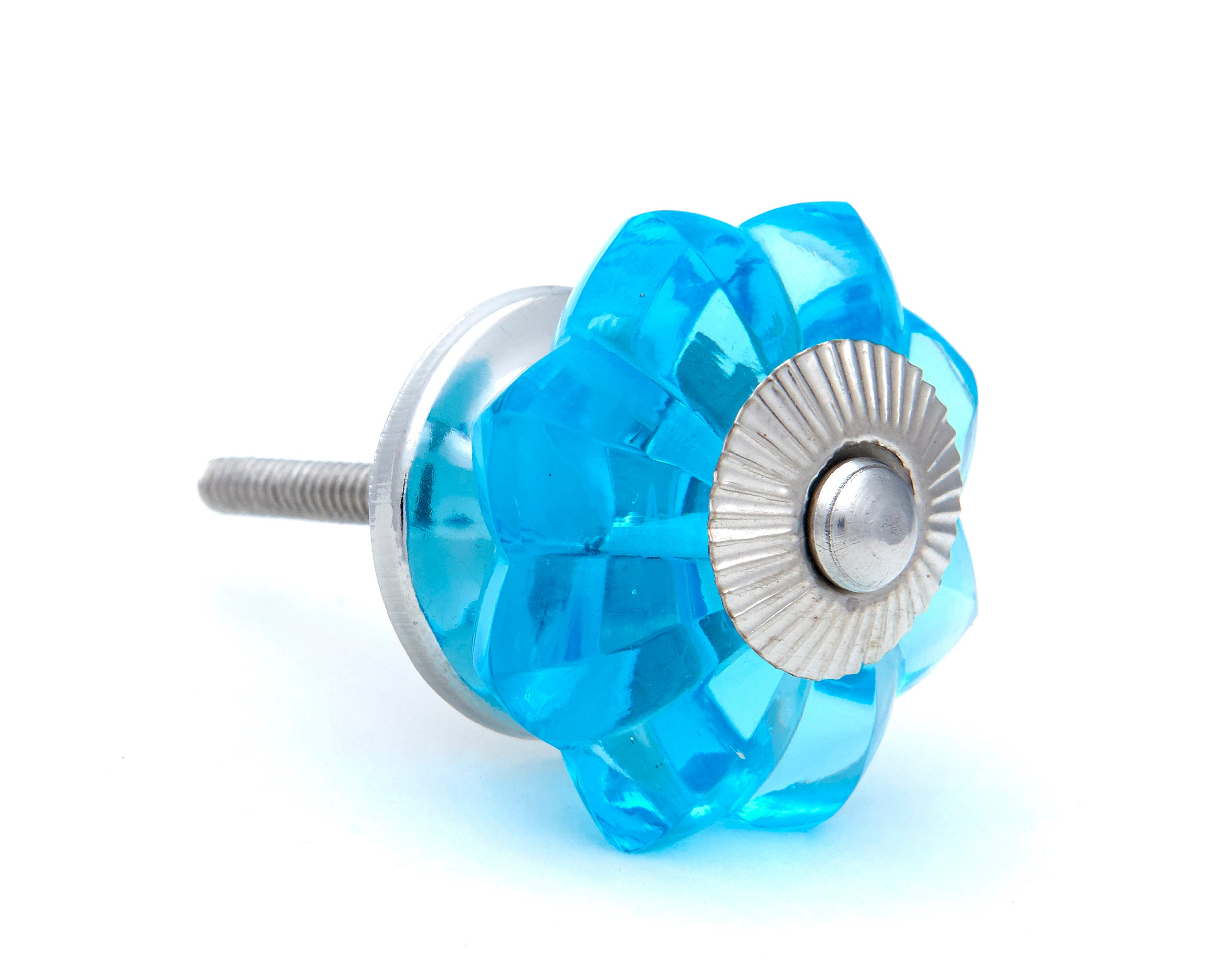 Blue Glass Kitchen Cabinet Pulls, Dresser Knobs with Polished Chrome ...