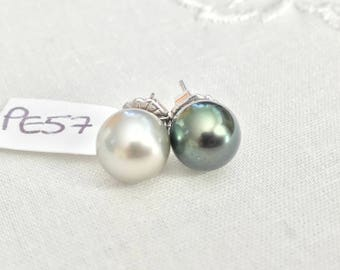 Cultured Tahitian Pearl Stud Earrings, 14k White Gold, Mismatched (PE57)
