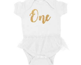 Birthday Outfit - Birthday Tutu - First Birthday Tutu - 1st Birthday Bodysuit - First Birthday - Gold Glitter - One - Baby Girl - First Bday