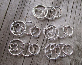 Mama metal modular jewelry Graduated Circles Plus fine silver centerpiece // made to order