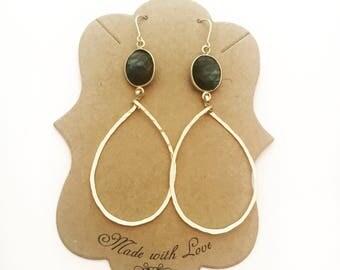 Labradorite teardrop hoop earrings