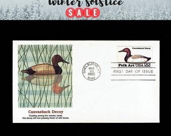 US 2140 American Folk Art: Canvasback Duck Decoy Mar 22, 1985 Shelburne VT - Fleetwood - First Day Cover lot #F2140-3