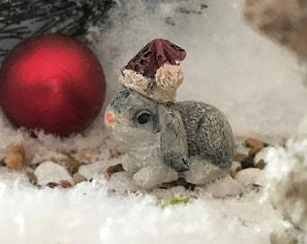 Miniature Bunny Rabbit wearing a Santa Hat