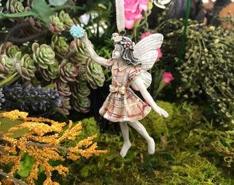 Miniature Girl Fairy Ornament - Plaid
