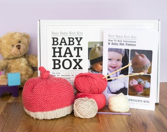 Baby Hat Beginner Knitting Kit / Baby shower / Baby announcement / Baby toque / Baby Beanie / Easy knitting / DIY knitting kit / Baby hat